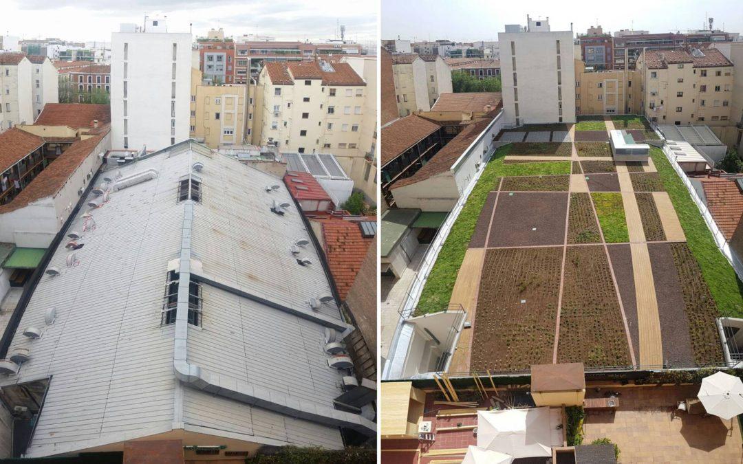 Un jardín sobre el supermercado que alegra a los vecinos